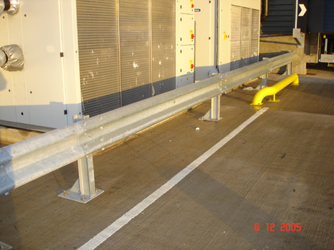 Armco Barriers Installed In Front Of Machinery